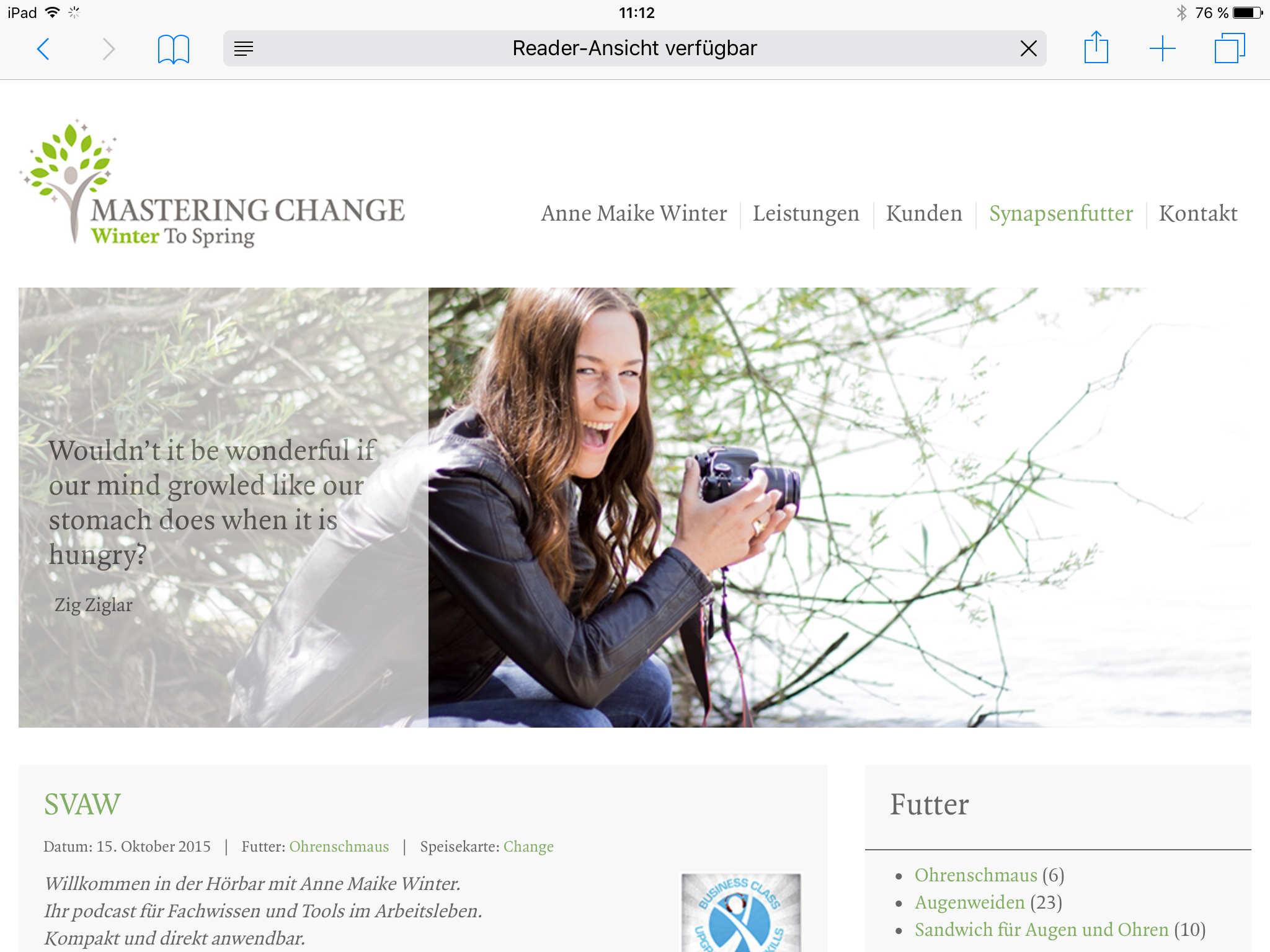 Screenshot der Website Anne Maike Winter - Mastering Change in der Tablet-Version