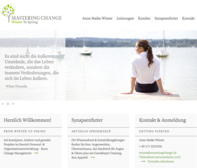 Screenshot der Website Anne Maike Winter - Mastering Change