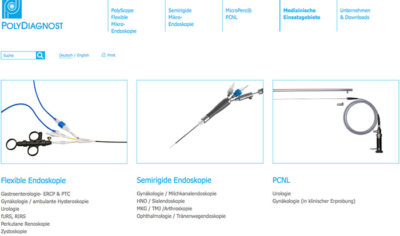 Screenshot der Website PolyDiagnost