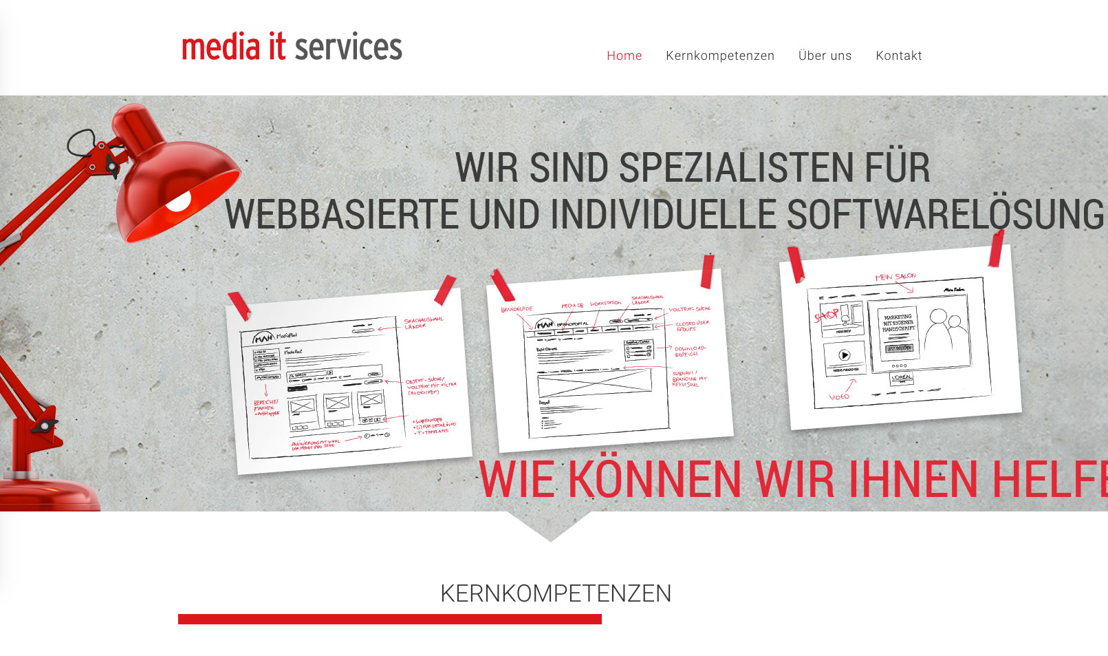 Screenshot der Website media it services & consulting in der Desktop-Version