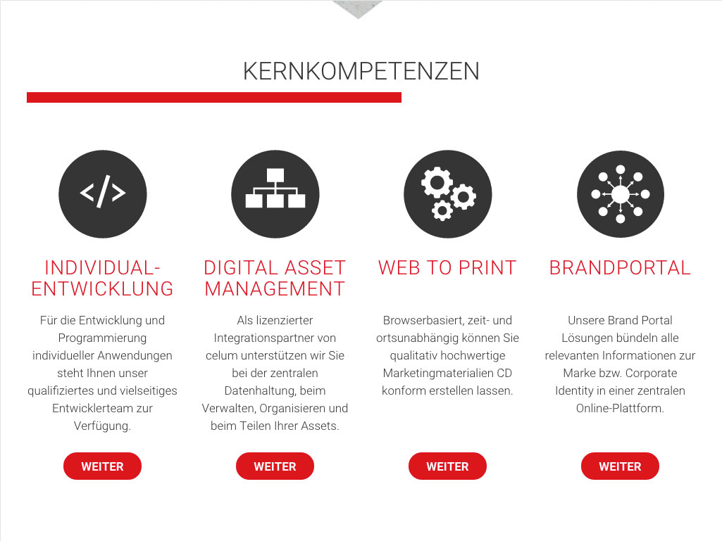 Screenshot der Website media it services & consulting in der Tablet-Version