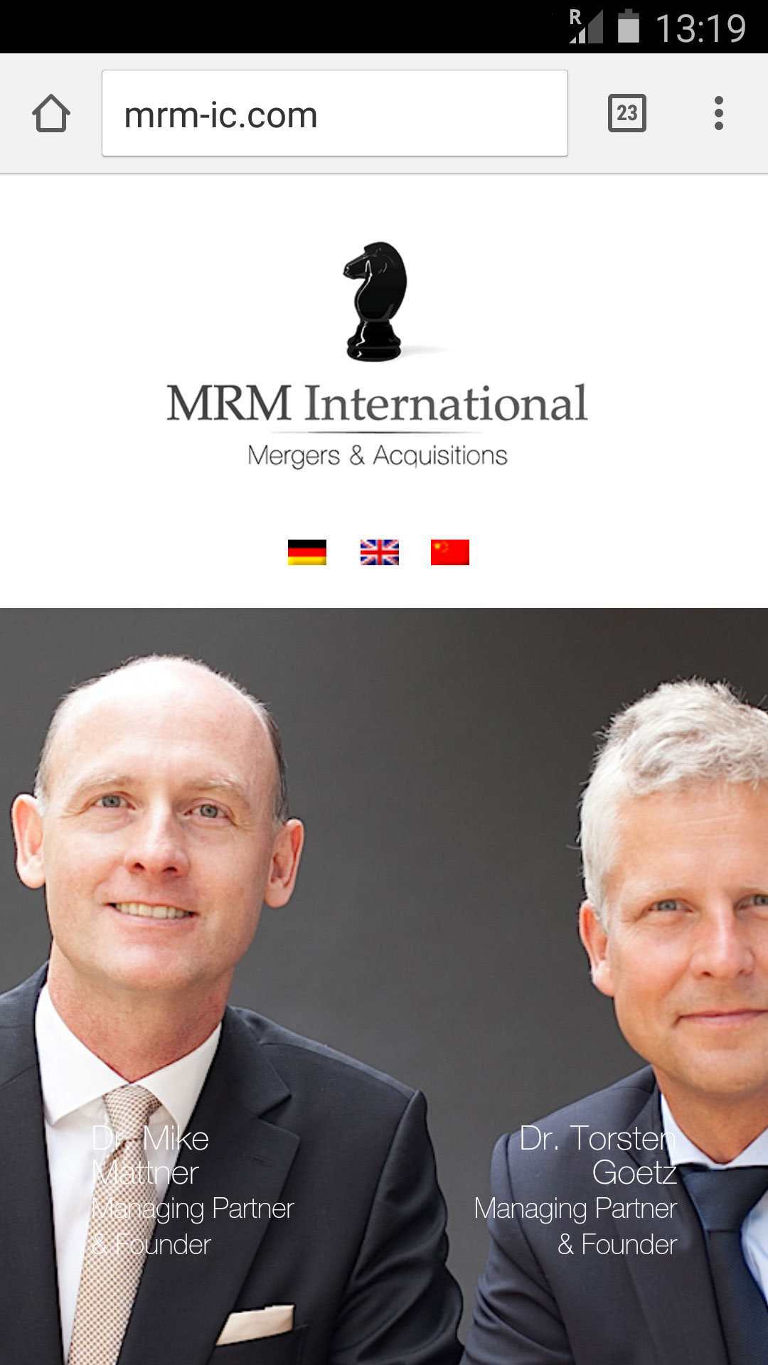 Screenshot der Website MRM International in der mobilen Version