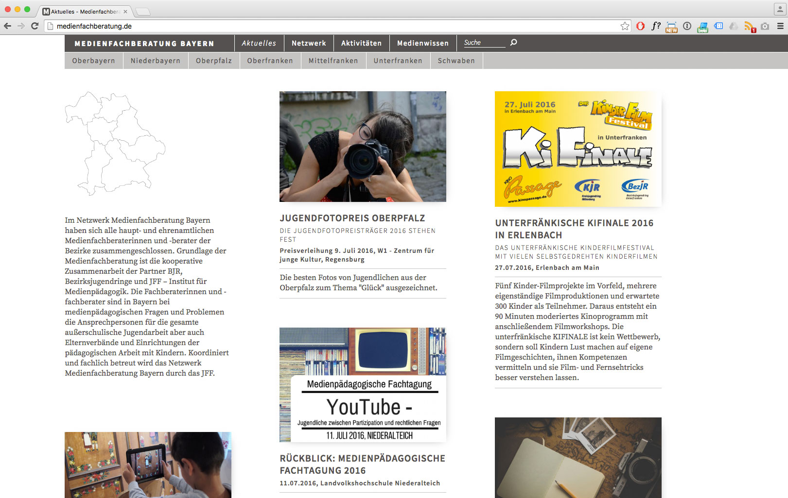 Screenshot der Website der Medienfachberatung Bayern in der Desktop-Version