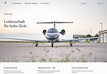 Screenshot der Website von Hiwing Aircraft Investments