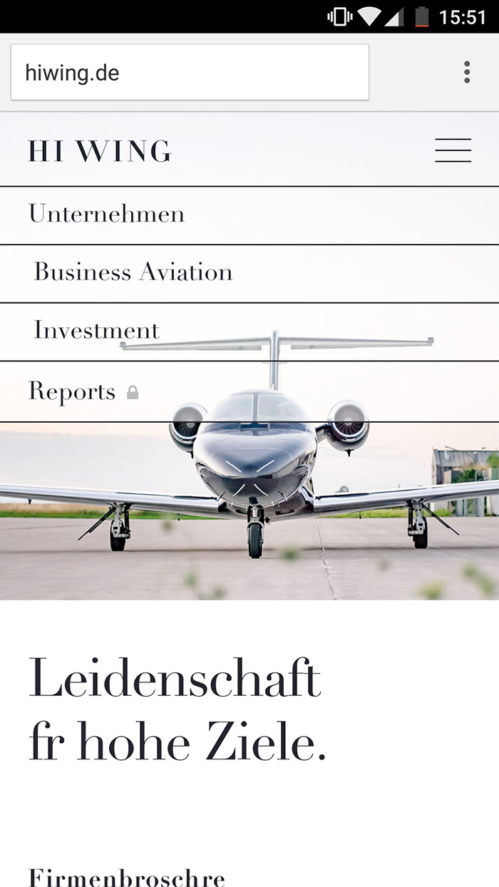 Screenshot der Website von Hiwing Aircraft Investments in der mobilen Version