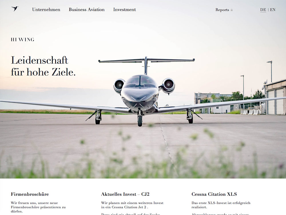 Screenshot der Website Hiwing Aircraft Investments in der Desktop-Version