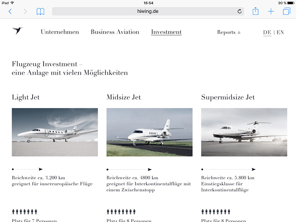 Screenshot der Website Hiwing Aircraft Investments in der Tablet-Version