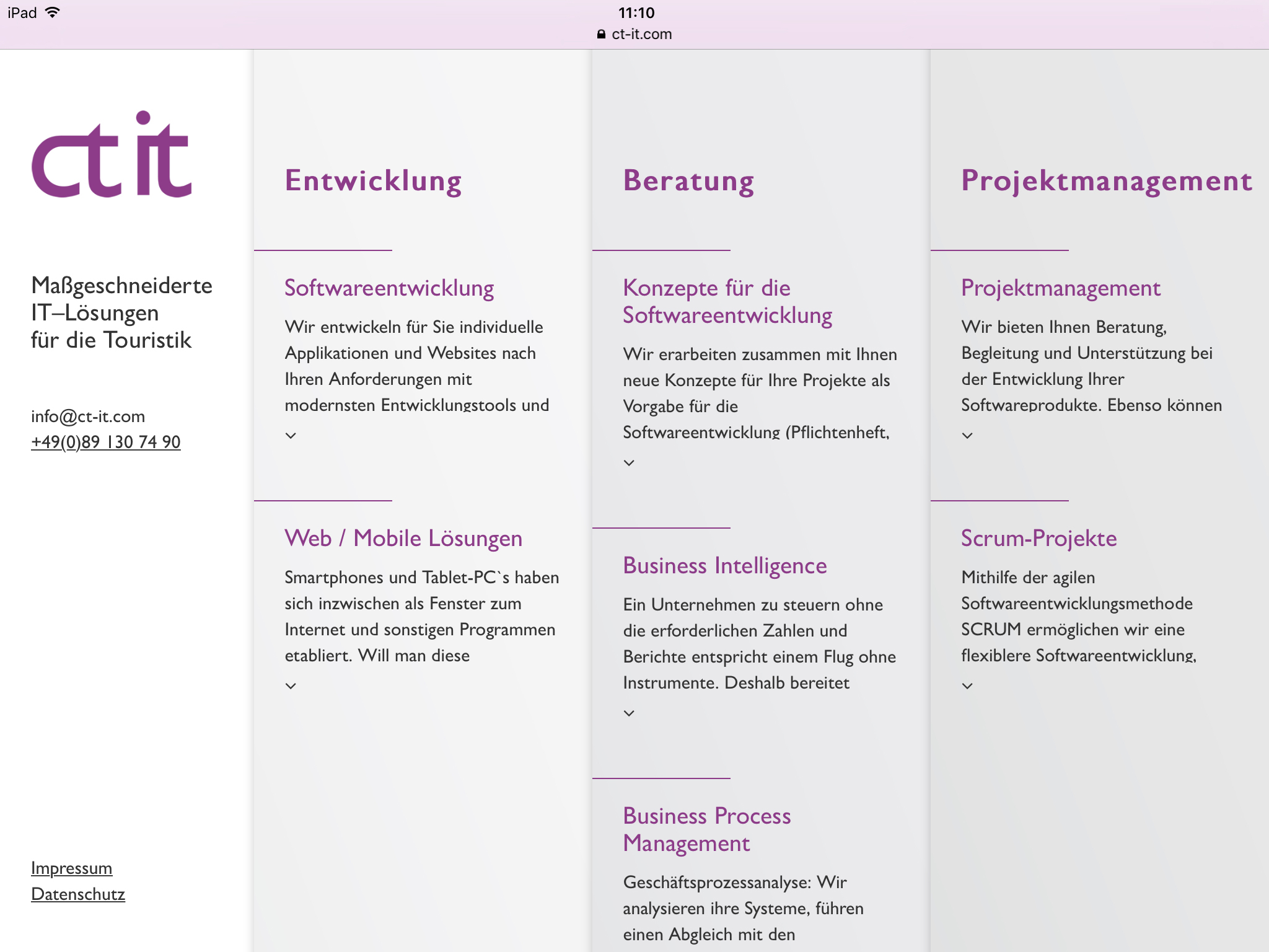 Screenshot von der Website von CT IT im Tablet-Format