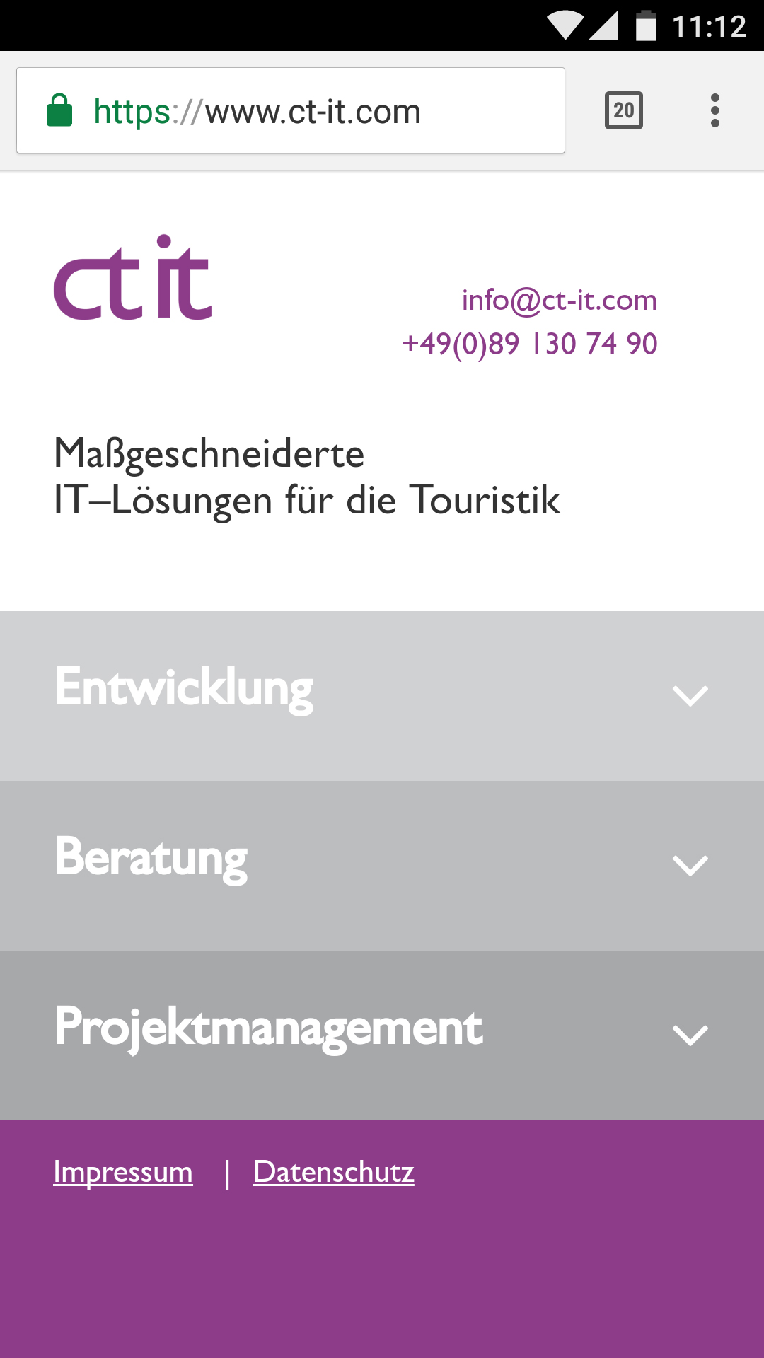 Screenshot der Website von CT IT in der mobilen Version