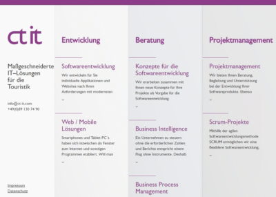 Screenshot der Website von CT IT