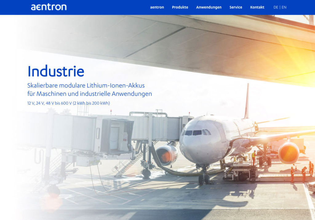 Screenshot der Website von Aentron