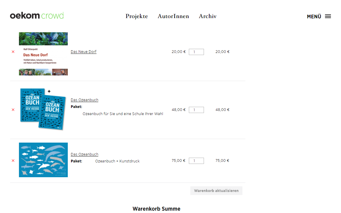 Screenshot der Website Oekom Crowd