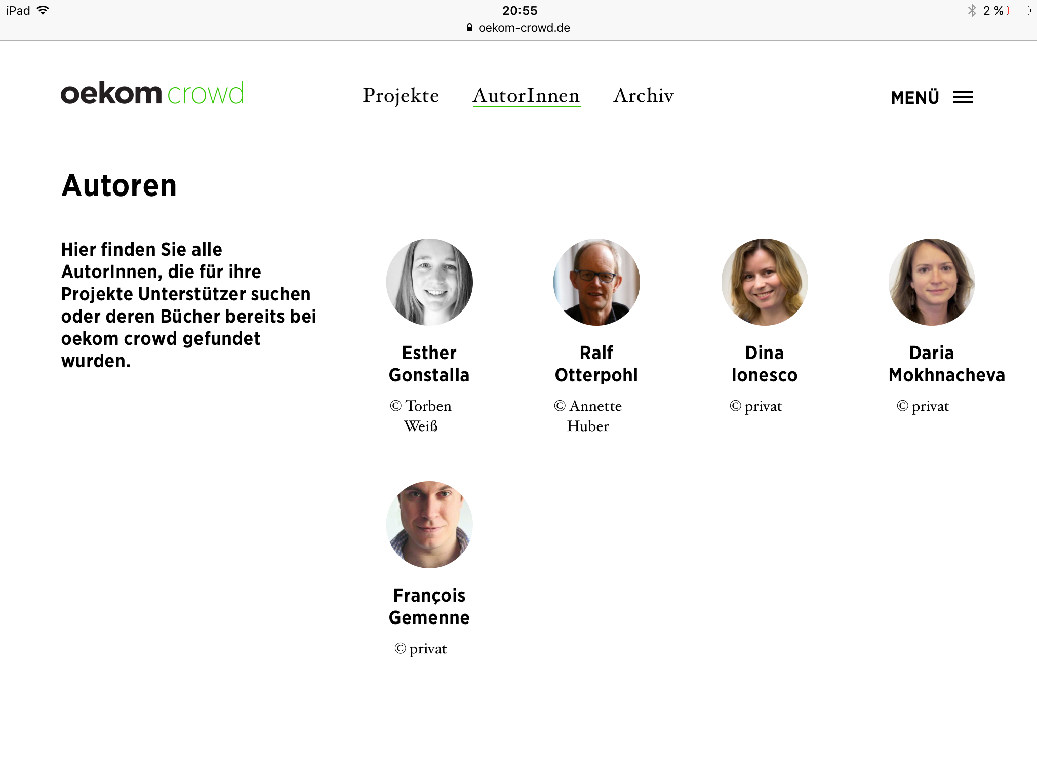 Screenshot der Website von Oekom Crowd in der I-Pad-Version