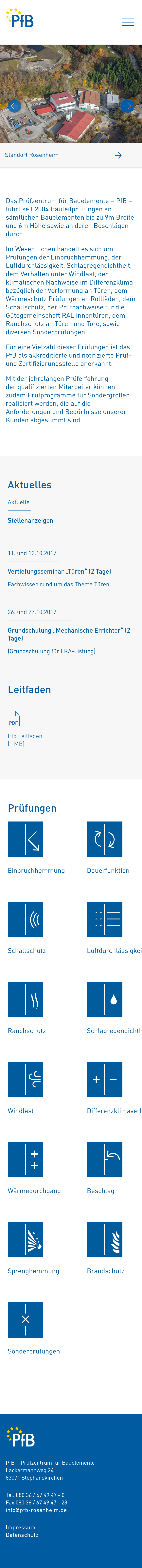 Screenshot der Website des PFB Rosenheim in der mobilen Version