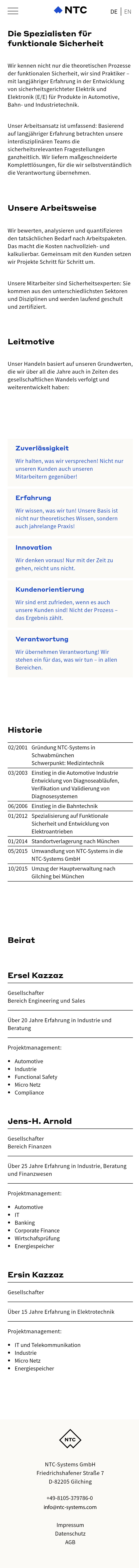 Screenshot der Website von NTC Systems in der mobilen Version